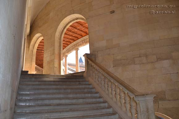 Stairs of the Palace of Carlos V in the Alhambra of Granada